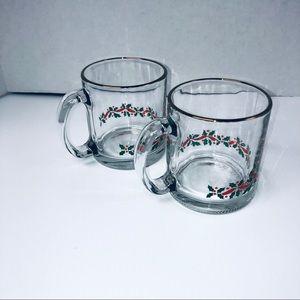 Vintage Holly Leaf Glass mugs Christmas themed